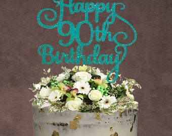 90th Birthday Cake Topper ~ Birthday Cake Topper ~ 90th Topper ~ Birthday Topper ~ 40th birthday ~ Name Cake Topper ~ 30th birthday ~ 50th