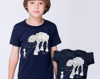 My At-At Pet big brother little brother matching set, gift for brothers siblings, star wars kids,family combo shirts,funny brothers t-shirts