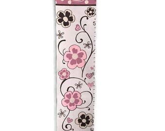 Princess Crown & Flowers Custom Canvas Growth Chart Wall Art Coordinates with Cocalo Daniella Nursery Bedding