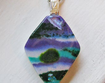 Purple Teal Dichroic Layered Diamond - Fused Glass Pendant / Necklace