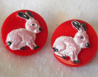 Set of 2 VINTAGE Painted Rabbit on Red Glass BUTTONS