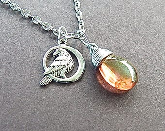 Raven Magic Peach Gold Teardrop Hand Wrapped Pendant With Raven Bird Round Silver Medallion Charm Silver Bird Necklace Crow Magic Jewelry