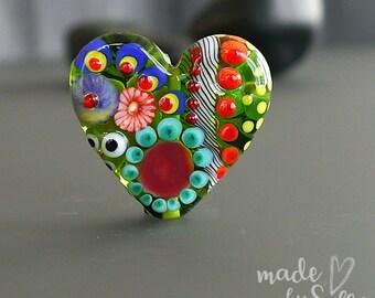 Handmade lampwork bead focal   |  Heart  |  SRA |  Silke Buechler