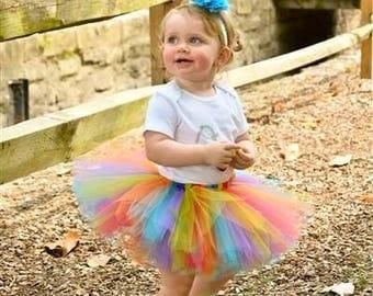 Rainbow Tutu, First Birthday Outfit Girl Tutu, Rainbow Cake Smash Outfit Girl Tutu, 1st Birthday Tutu, SEWN Tutu Skirt, Rainbow Baby Tutu