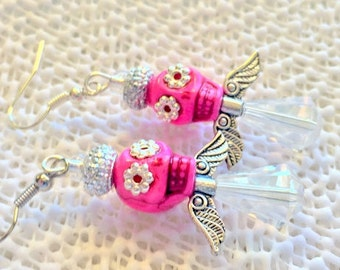 Sugar Skull Angel In Pink and Crystal Day of the Dead Calaveras Bead Earrings
