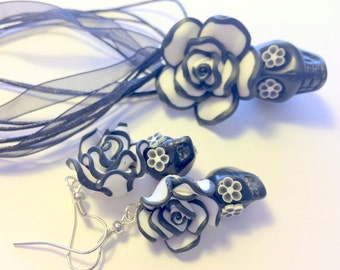 Sugar Skull Jewelry Set Black and White Day of the Dead Sugar Skull Necklace and Earrings Set