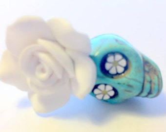 Turquoise Sugar Skull and White Rose Day of the Dead Pendant