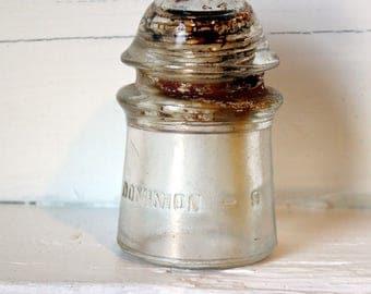 Vintage Dominion Glass Insulator, Old Glass, Telegraph Insulators