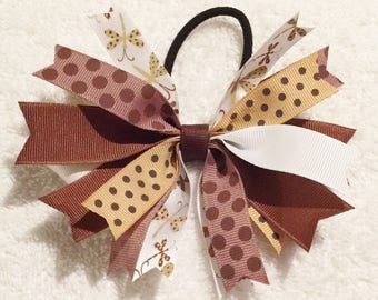 Brown Spike Bow|Toddler Brown Bow|Spiked Hair Bow|Girl Spiked Hair Bow|Ponytail Holder|Brown Polka Dot Bow