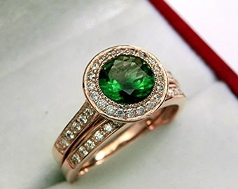 AAAAA Chrome Tourmaline 7.0mm  1.09 Carats   14K Rose gold bridal set with .35cts of diamonds. 0503