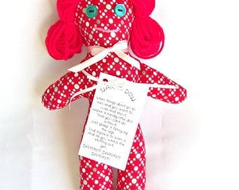 Stress Relief Doll DAMMIT or DANG IT Red Print Red Hair Turquoise Eyes