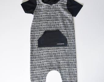 Monochrome Hooded Harem Romper - Kids Romper - baby romper - toddler romper - harem romper - coverall