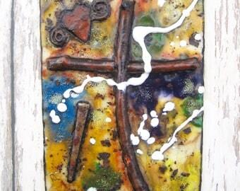 Encaustic Art, Encaustic Painting, Encaustic Cross, Religious Encaustic, Wax Art, Colorful Cross, Wood Cross, Nail, Rustic Cross, Table Art