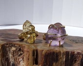 Midi Ring Set, Citrine and Amethyst rings, unique long prong set raw stone