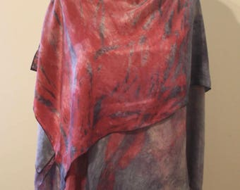 Hand-dyed silk asymmetrical wrap in indigo blue and cochineal red