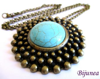 Turquoise brass pendant necklace n811