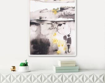 Modern abstract original watercolor painting, large wall art, large abstract painting, black and yellow