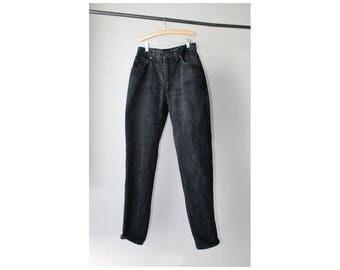 1980s Black Denim High Rise Skinny Jeans