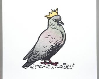 Party Pigeon linocut print (artist proof)