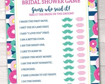 He Said She Said Bridal Shower Game Printable Guess Who Said It Shower Game Instant Download PDF in Blue Stripes and Flowers