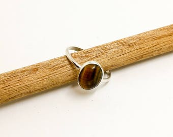 Sterling Silver Oval Tiger's Eye Stacking Ring