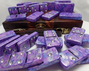 Dominoes 'Purple Haze' Hand Painted 28 Piece Standard Size Double Six Domino Set in Leather-look Briefcase purple, alcohol ink, instructions