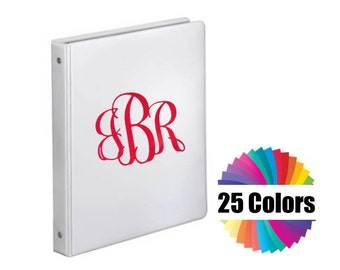 6 Inch Decal Back To School 3 Ring Binder Notebook Decal Classic Vine Fancy 3 Letter Monogram Personalize Your Stuff Choose From 25 Colors