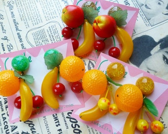 Extra Large Fruit Salad Earrings! Carmen Miranda vintage 1940's 50's confetti lucite inspired earrings by Luxulite