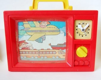 Musical Toy Television - 1970s Blue Box TV Music Box with Scenes of Transport - Classic Vintage Toy