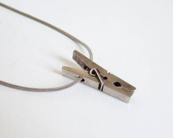 Vintage Clothes Peg Pendant - 1970s Tiny Peg Charm on Snake Chain Necklace in Silver Tone Metal