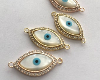 1 pc Matte 22K Gold Plated Base Mother of Pearl Eyes Connector- Eyes 27x14mm-(001-045)