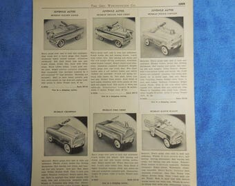 Antique Pedal Car Geo. Worthington Co. Original Advertising Page