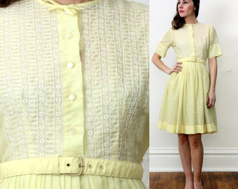 SALE Yellow & Lace Dress Small