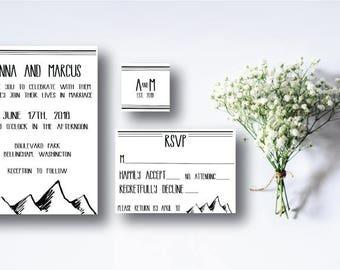 Wedding Invitation Suite, Outdoor Wedding, Mountain Wedding, Outdoor, Invitation, Custom Invitations, Printable Invitations, DIY,