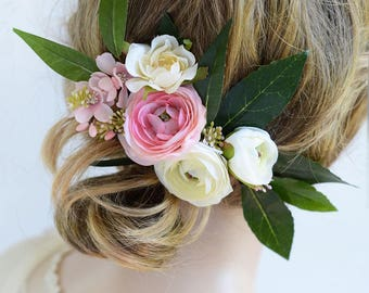 bridal headpiece, bridal hair clip, floral headpiece, pink flower hair accessories, bridal hair piece, pink flower hair clip, wedding hair
