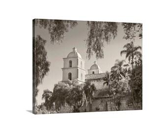 Santa Barbara Art, Black and White Photography, Sepia Photo, California Missions, Church Art, Architecture Art, California Art, Canvas Print
