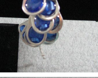 Pop Tab Bracelet - White Ribbon Bracelet with Blue Pop Tabs - Crochet Bracelet - Pop Tab Jewelry - Melted Bead Pop Tab Bracelet