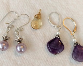 CLOSE OUT SALE:  Box Lot Earrings Pendant Beer Quartz Amethyst Sell Pearl
