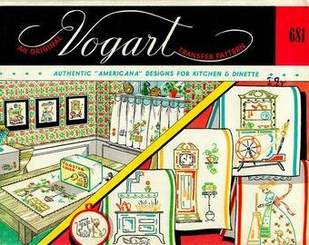 1950s Vogart 681 UNCUT Vintage Transfer Pattern Authentic Americana Designs for Kitchen & Dinette