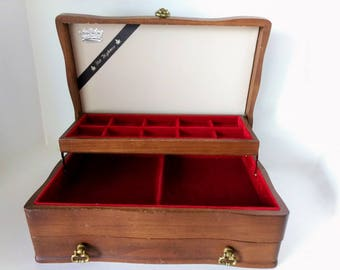 Wood Jewelry Box, Crushed Red Velvet Lining, Solid Wood Chest, Vintage Woman Valet, Dresser Organizer, Letter Box Drawer, Ladies Vanity Box