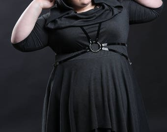 "Hooded Cowl Handkerchief Dress - Casual Goth Punk Rock Witchy ""Hooded Handkerchief Dress"" - Petite to Pluz size - Custom to Order - XXS-5XL"
