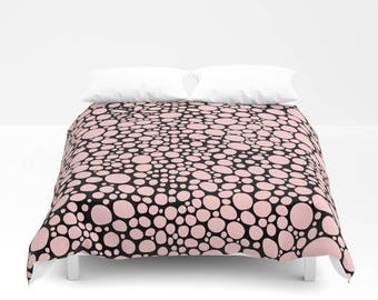 Abstract Pink black bubbles Shabby Chic Duvet Cover Bedroom Set funky organic home decor boho chic duvet blanket, duvet boho duvet
