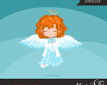 Nativity Angel Clipart. Christmas angel red Blonde, holiday, illustration, graphic, cute, character, religious, christian, holy, bible