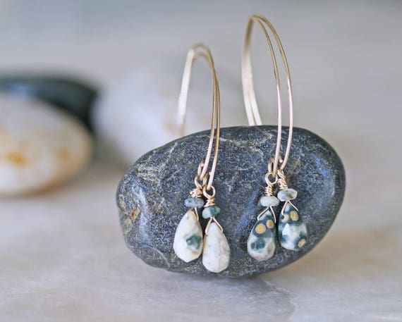 Ocean Jasper Open Hoop Dangle Earrings in Gold Filled