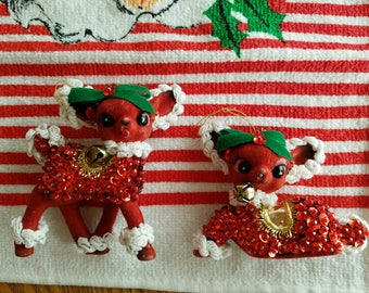 Two (2) Vintage Flocked Deer, Handmade and Decorated with Lots of Sparkle!