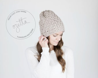 Tunisian Crochet Pattern / Slouchy Hat Textured Winter Hat / THE HOLOCENE