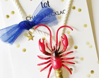 Lobster Necklace. Nautical Necklace. Animal Necklace. Kids Necklace. Crayfish Necklace. Girls Jewelry. Girls Necklace. Preppy Necklace.