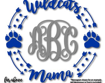 Wildcats Mama Paw Print Monogram Frame Wreath (monogram NOT included) SVG, DXF, eps, png, jpg digital cut file for Silhouette Cricut team