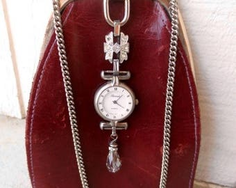 Vintage Leather Coin Purse Necklace Made in Italy Burgundy Red Steampunk Scavenger Pouch Unique OOAK