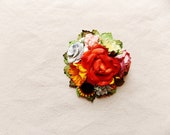 Coral green yellow berry pink blue daisy mix Handmade Roses Vintage style Millinery flower corsage
